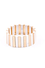 Gold/White Stretch Bracelet - BRC2278GO