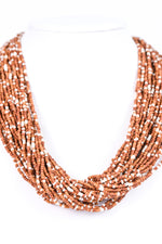 Brown/Ivory Seed Bead Layered Necklace - NEK2851BR
