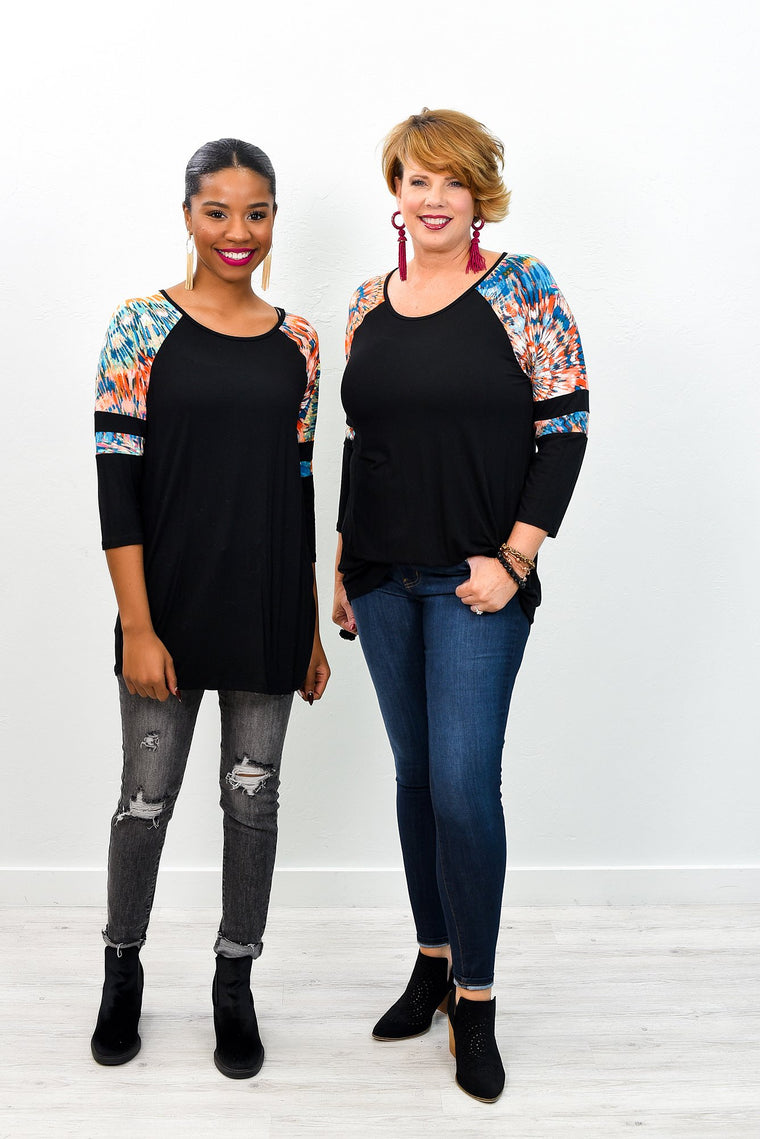Love Comes Along Black/Multi Color Printed Top - B6883BK