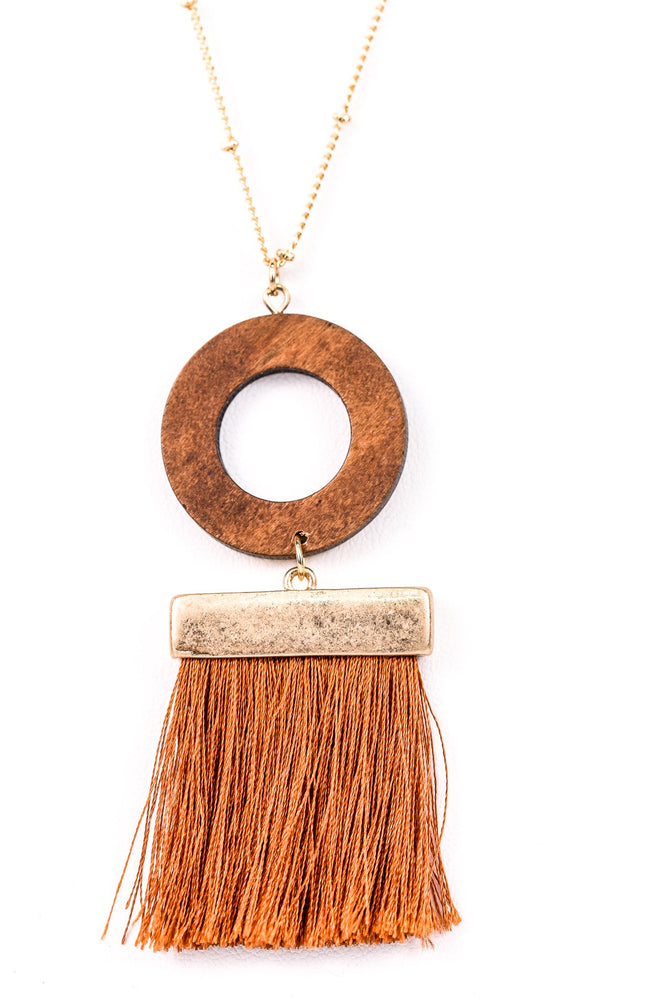 Rust Fringe/Wooden Circle Tassel On Gold Chain Necklace - NEK2885RU