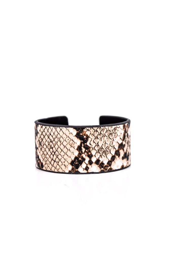 Brown Snakeskin Adjustable Cuff Bracelet - BRC2310BR