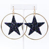Black/Multi Color Glitter Star Gold Hoop Earrings - EAR2566BK