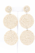 Ivory 3-Tier Seed Bead Earrings - EAR2476IV