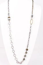 Antique/Platinum Bling/Beaded/Clear Crystal Necklace - NEK2752AG