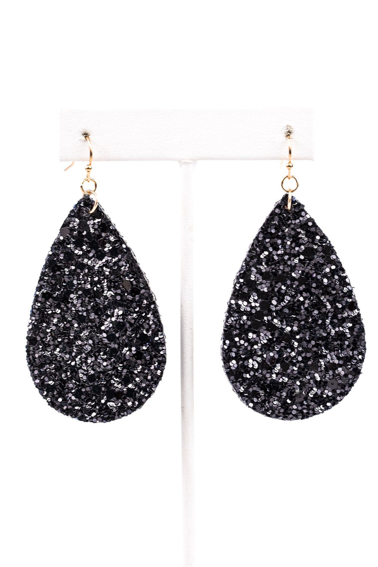Black Glitter Teardrop Earrings - EAR2583BK