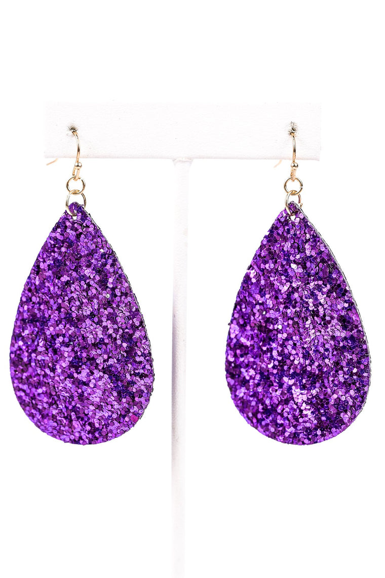 Purple Glitter Teardrop Earrings - EAR2582PU