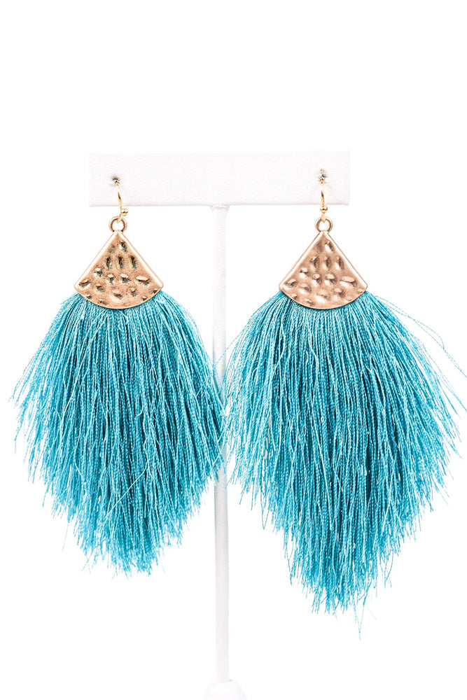 Turquoise/Gold Hammered Fringe Tassel Earrings - EAR2036TU