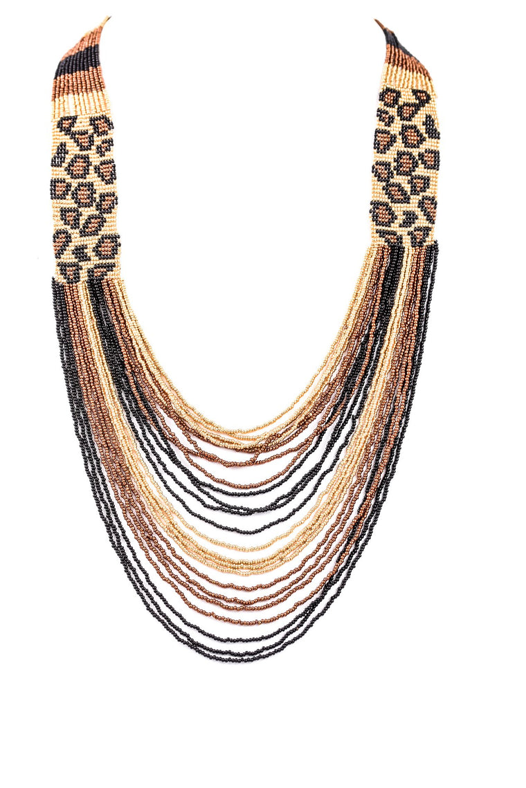 Leopard Seed Bead Multi-Strand Necklace - NEK2592LE