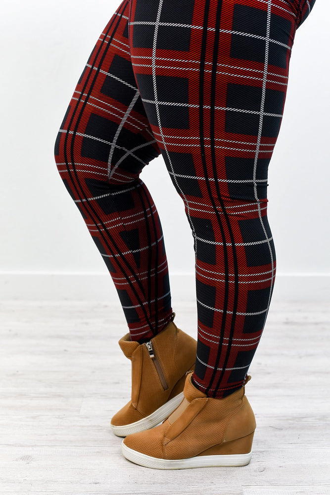 Burgundy/Black/Gray Plaid Printed Leggings (Sizes 20-26) - LEG2566BU