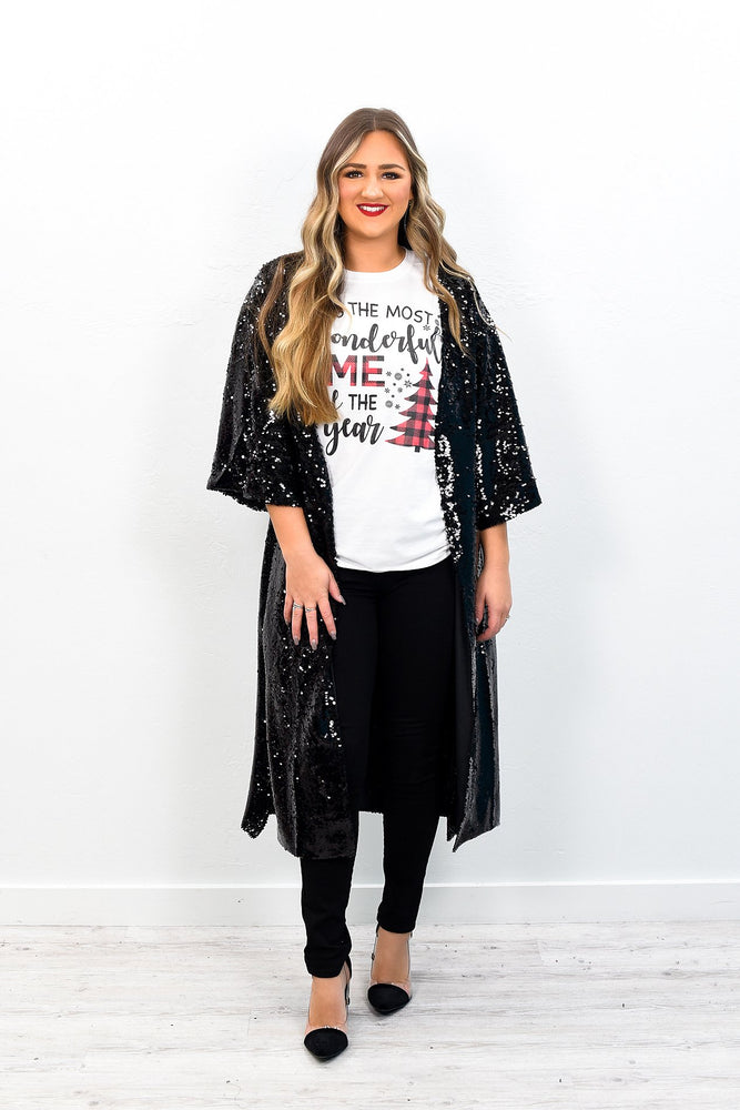 She's All Glam Black Sequins Duster - O2205BK