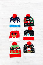 Christmas Multi Pattern Pom Beanies - BEAN1033