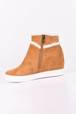 Walking Fur Love Tan Wedge Booties - SHO1652TN