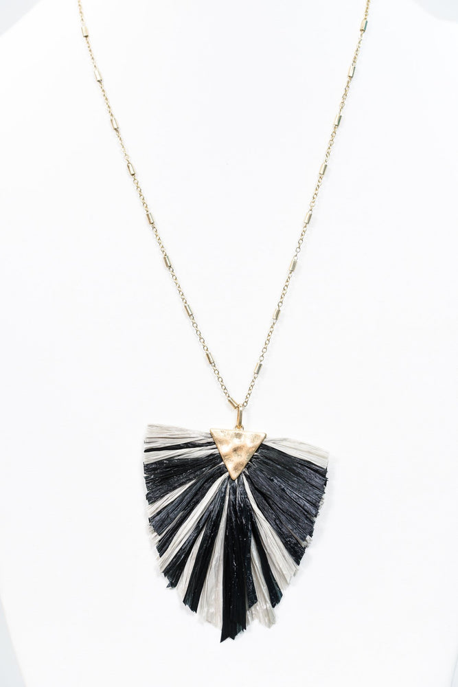 Black/Gray Raffia Fringe On Gold Chain Necklace - NEK2902BK