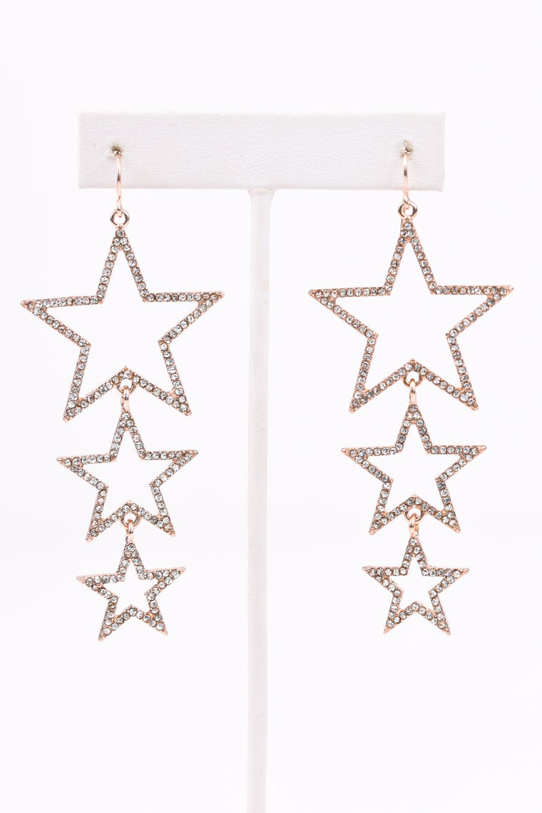 Rose Gold/Bling 3 Tier Star Cutout Drop Earrings - EAR2589RG
