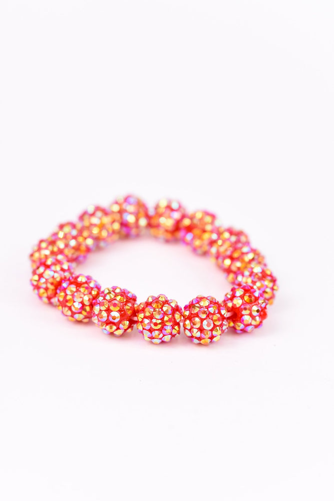 Red/Multi Color Bling Beaded Stretch Bracelet - BRC2326RD
