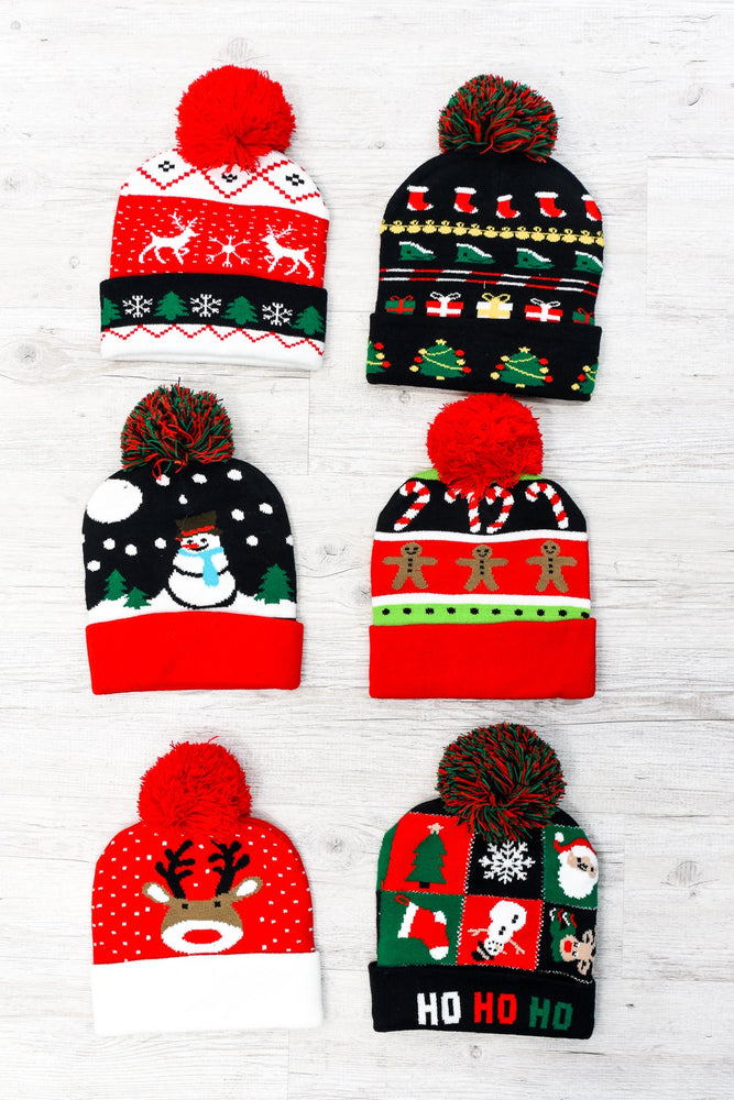 Christmas Multi Pattern Pom Beanies - BEAN1028