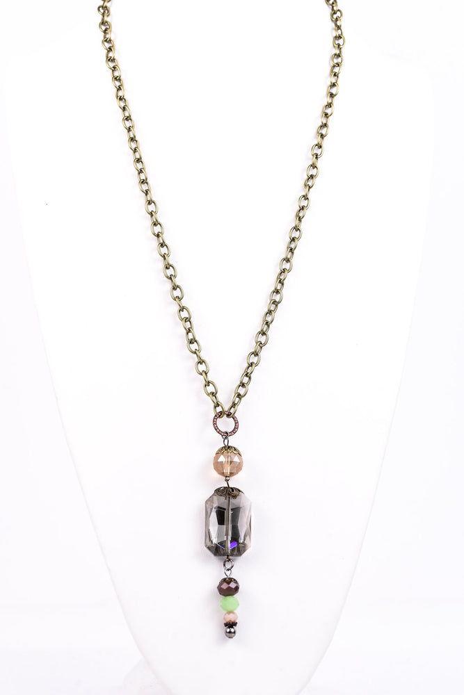 Multi Color Beaded Drop Necklace - NEK2932MU