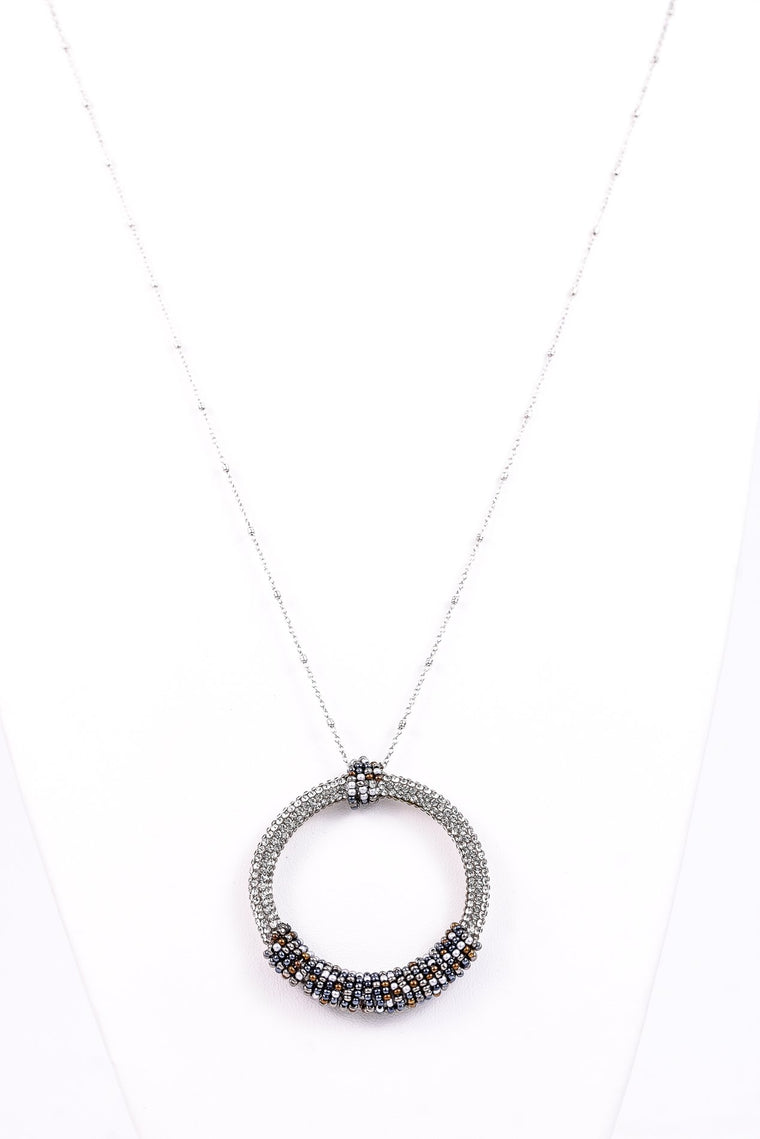 Crystal Bling/Seed Bead Hoop Necklace - NEK2917CR