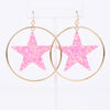 Pink Glitter Star Gold Hoop Earrings - EAR2614PK