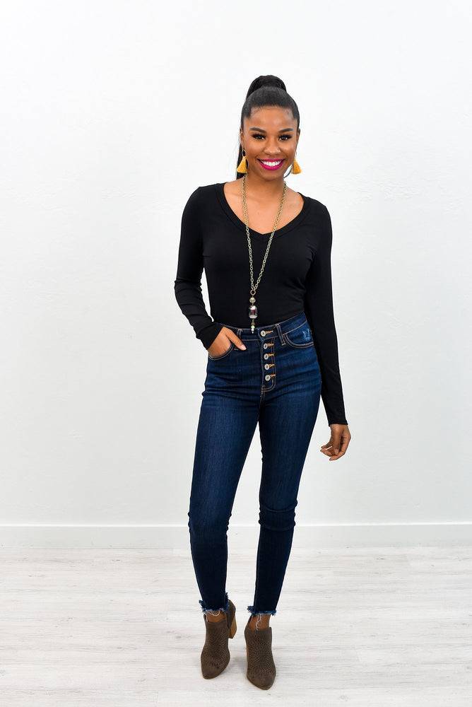 Suited For Me Black V Neck Bodysuit - BDS1010BK