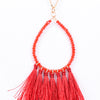 Red Beaded Teardrop Fringe Tassel Necklace - NEK2947RD