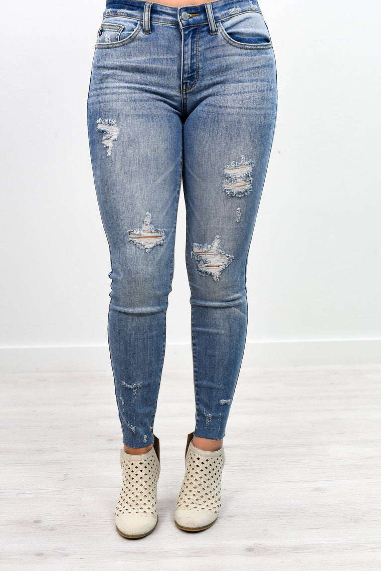 Shouldn't Have Shred It Medium Denim Distressed Jean - K375DN