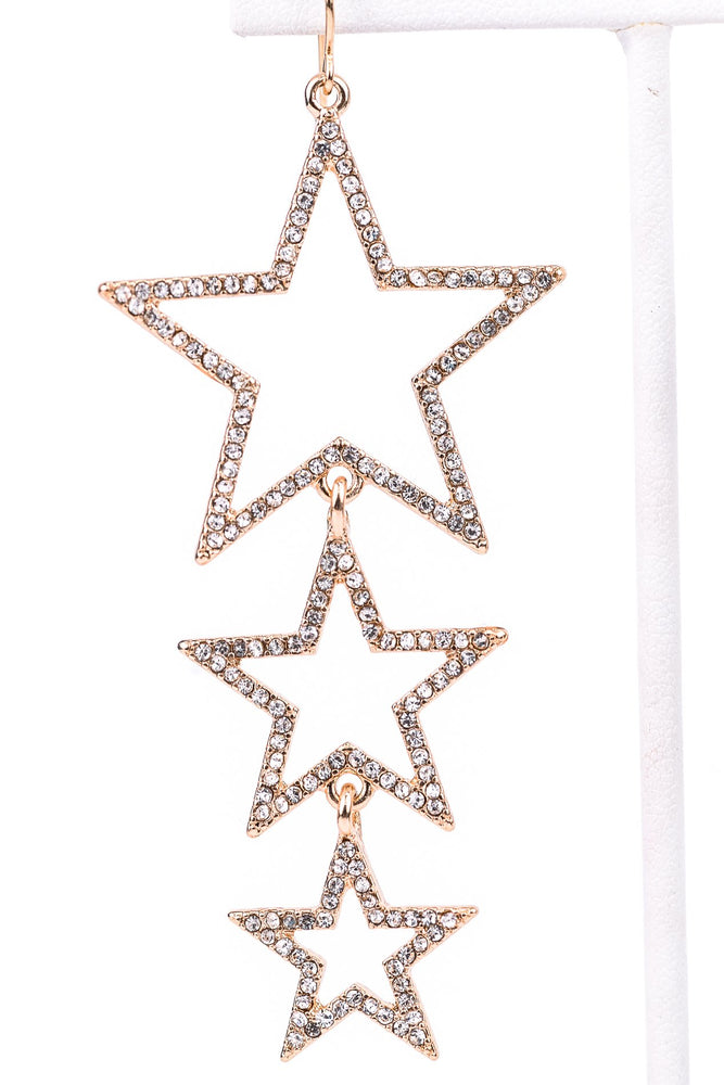 Gold/Bling 3 Tier Star Cutout Drop Earrings - EAR2627GO