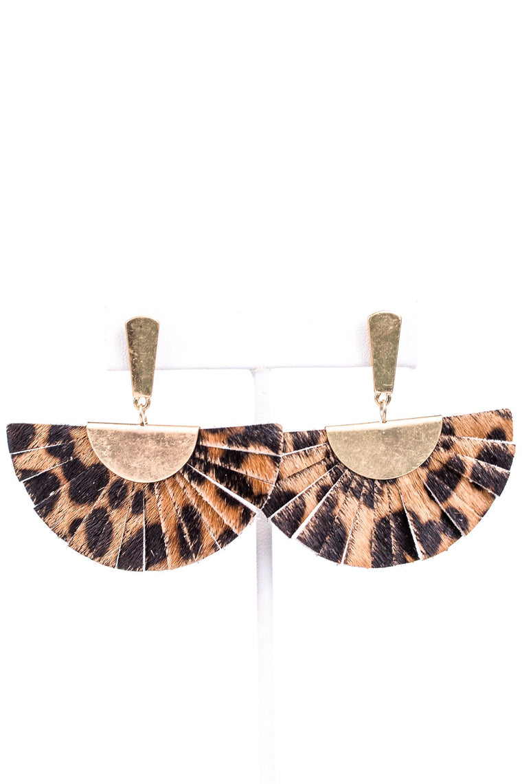Brown/Gold Leopard Leather Fan Earrings - EAR2631BR