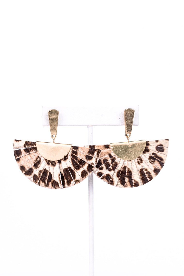 Ivory/Gold Leopard Leather Fan Earrings - EAR2632IV