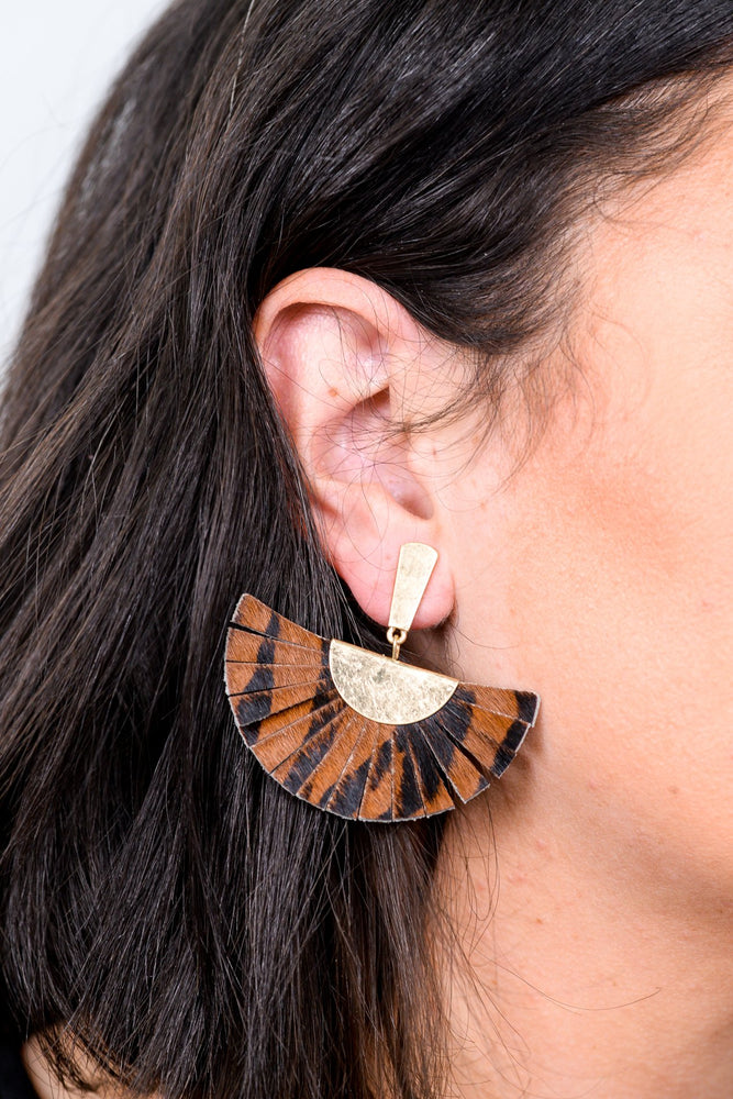 Brown/Gold Zebra Leather Fan Earrings - EAR2629BR