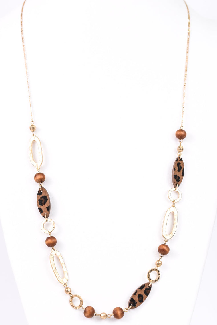 Gold Hammered Links/Leopard/Brown Beaded Necklace - NEK2958GO