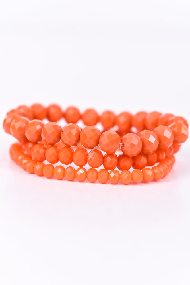 Orange Beaded Stackable Stretch Bracelet - BRC2357OR