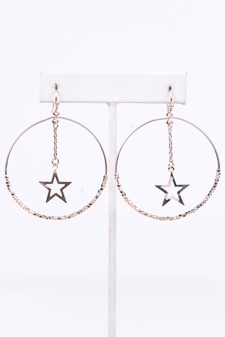 Rose Gold Cube Beaded/Star Hoop Earrings - EAR2639RG