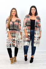 I'm What You Need Beige/Olive Striped Lace Kimono - O2264BG