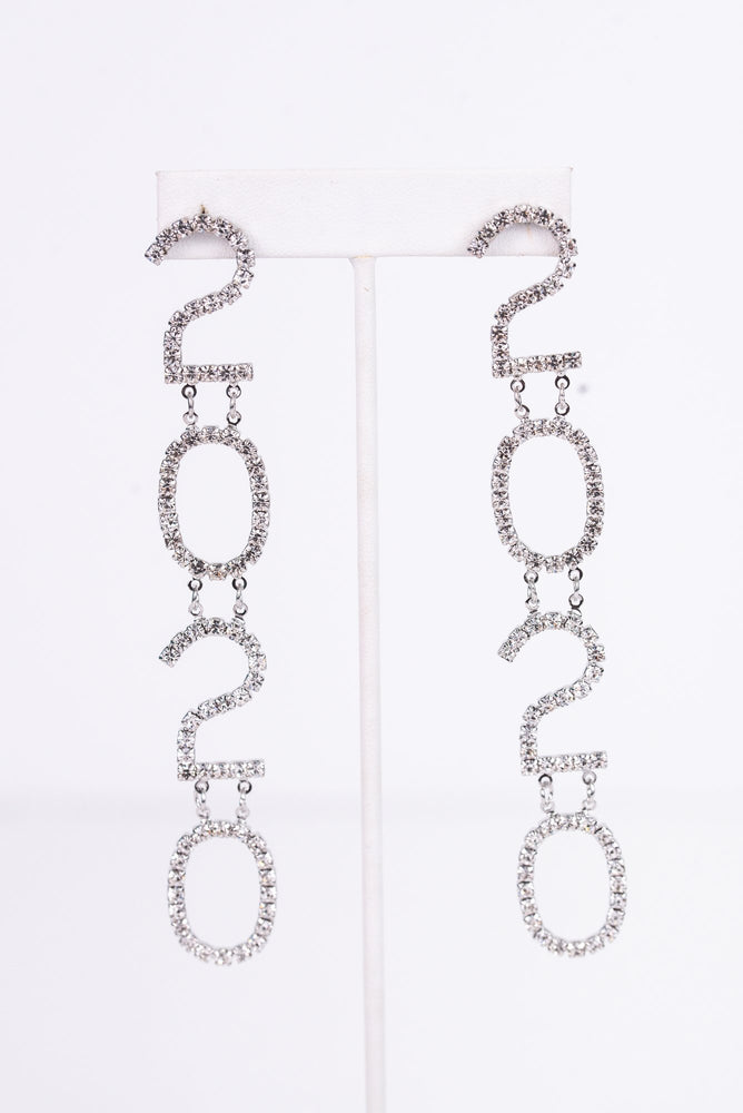 '2020' Silver Bling Drop Earrings - EAR2655SI