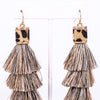 Natural Leopard 3-Tier Tassel Earrings - EAR2669NA