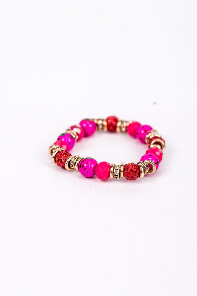 Hot Pink/Gold Bling Beaded Stretch Bracelet - BRC2383HP