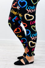 Black/Multi Color Love You/Heart Printed Leggings (Sizes 20-26) - LEG2616BK