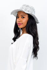 White Plaid Tweed Hat - HAT1123WH