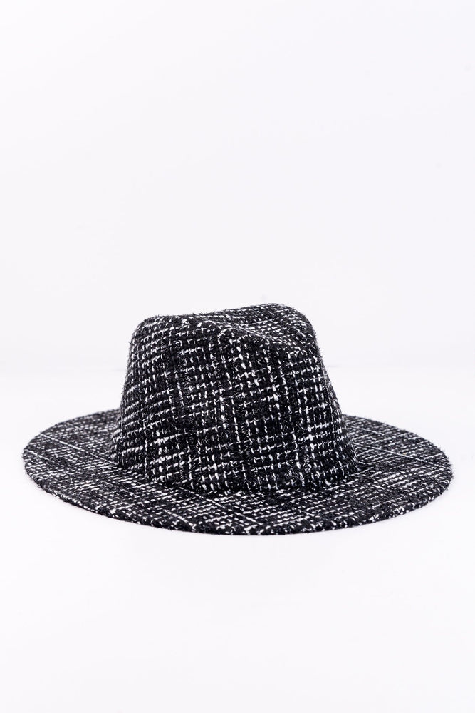 Black Plaid Tweed Hat - HAT1124BK