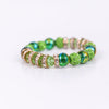Green/Blue/Gold Bling Beaded Stretch Bracelet - BRC2412GN
