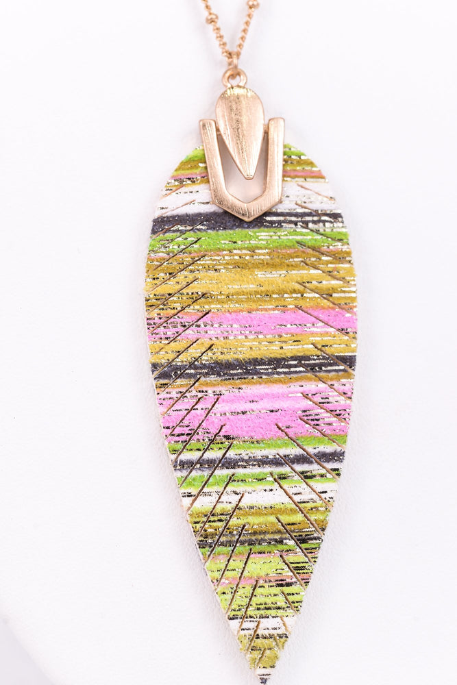 Green/Multi Color Feather On Gold Chain Necklace - NEK3013GN