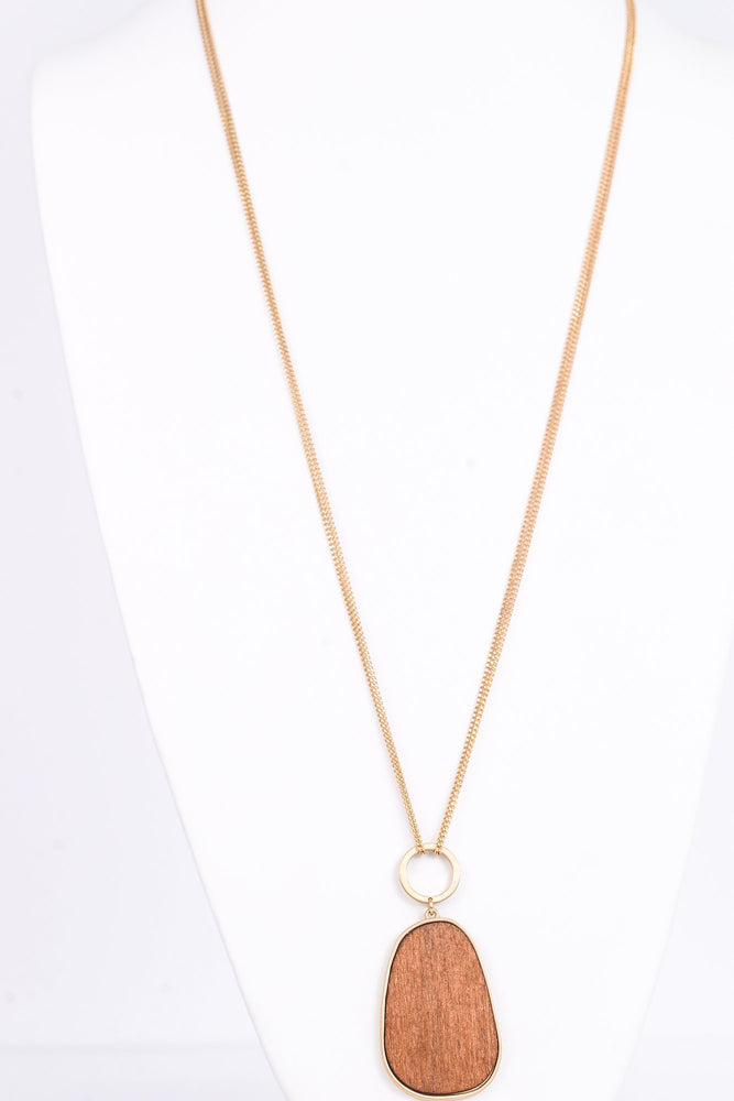 Gold Double Layered Chain/Wooden Pendant Necklace - NEK3008GO