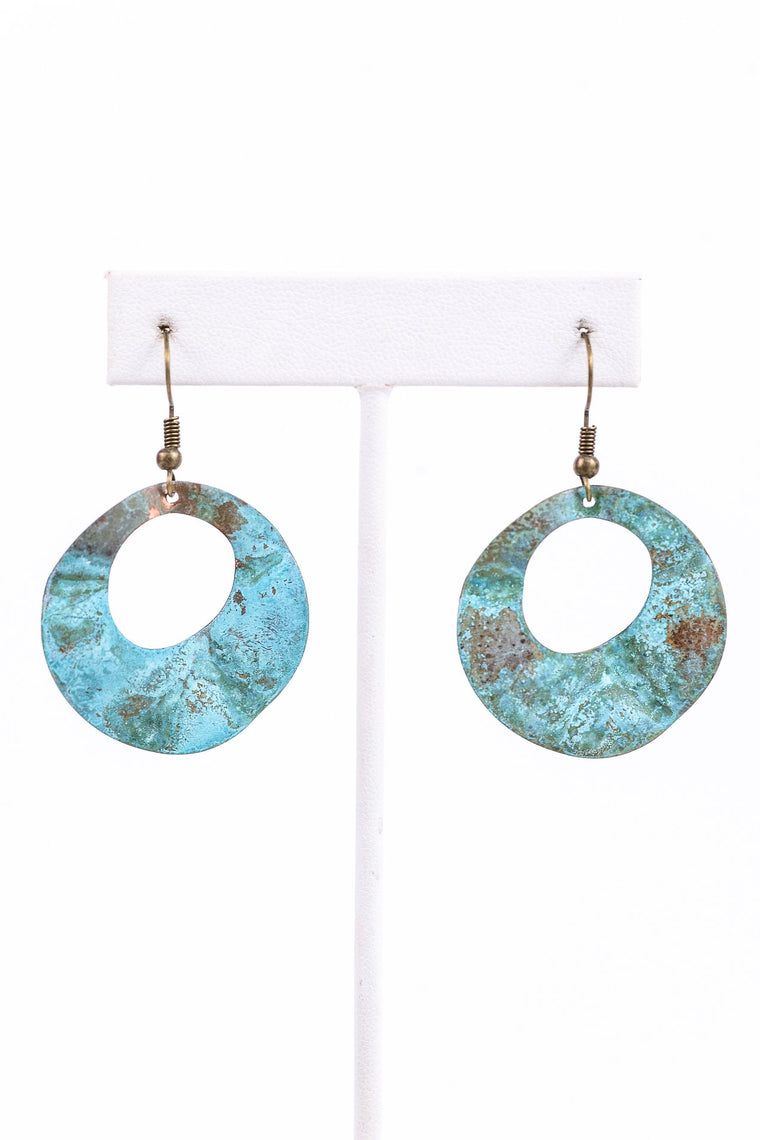 Patina Round Hammered Cut Out Earrings - EAR2702PA