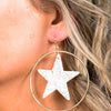 White/Silver Glitter Star Gold Hoop Earrings - EAR2684WH