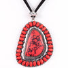 Red/Silver Marble Stone Pendant On Black Suede Cord Necklace - NEK3007RD