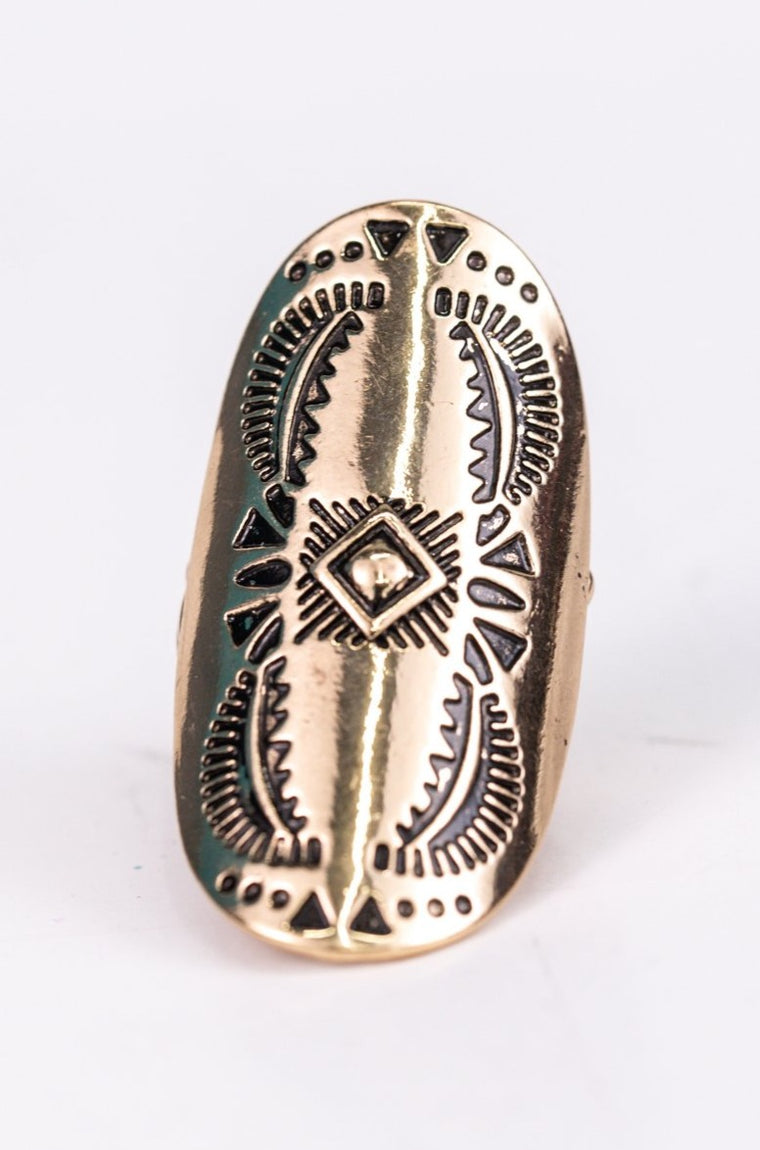 Gold Aztec Pattern Stretch Ring - RNG1080GO