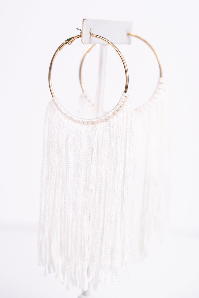 Long White Tassel Gold Hoop Earrings - EAR2686WH