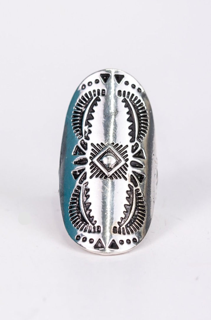 Silver Aztec Pattern Stretch Ring - RNG1081SI