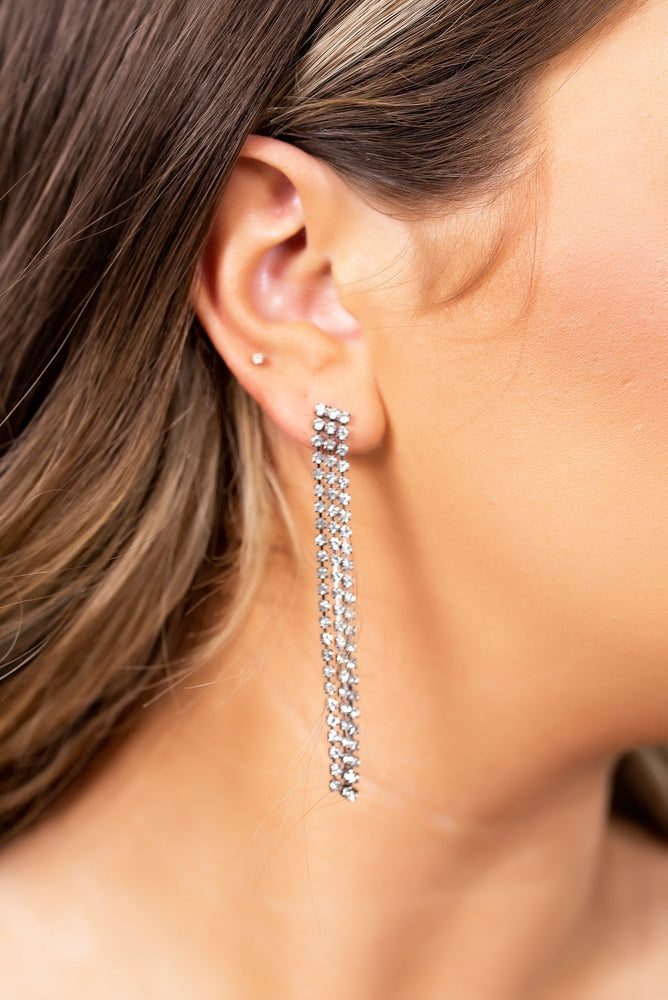 Platinum Crystal Bling Triple Strand Drop Earrings - EAR2674PL